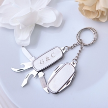 100Pcs Multifunctional Personalized Knife Keychain Wedding Favor For Guests Customized Wedding Gifts Birthday Party Favor+Box