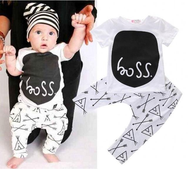 Newborn 2017 toddler baby boy clothing sets summer 2-piece outfits print t-shirt and pants black&white lovley boy clothes sets