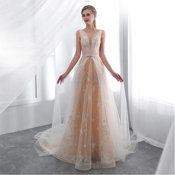beeace98e6 Vestidos de gala champán luz baile De graduación Vestido ilusión blusa  Vestido sin mangas de 15 Ano Debutante Prom Vestido De fiesta 2019