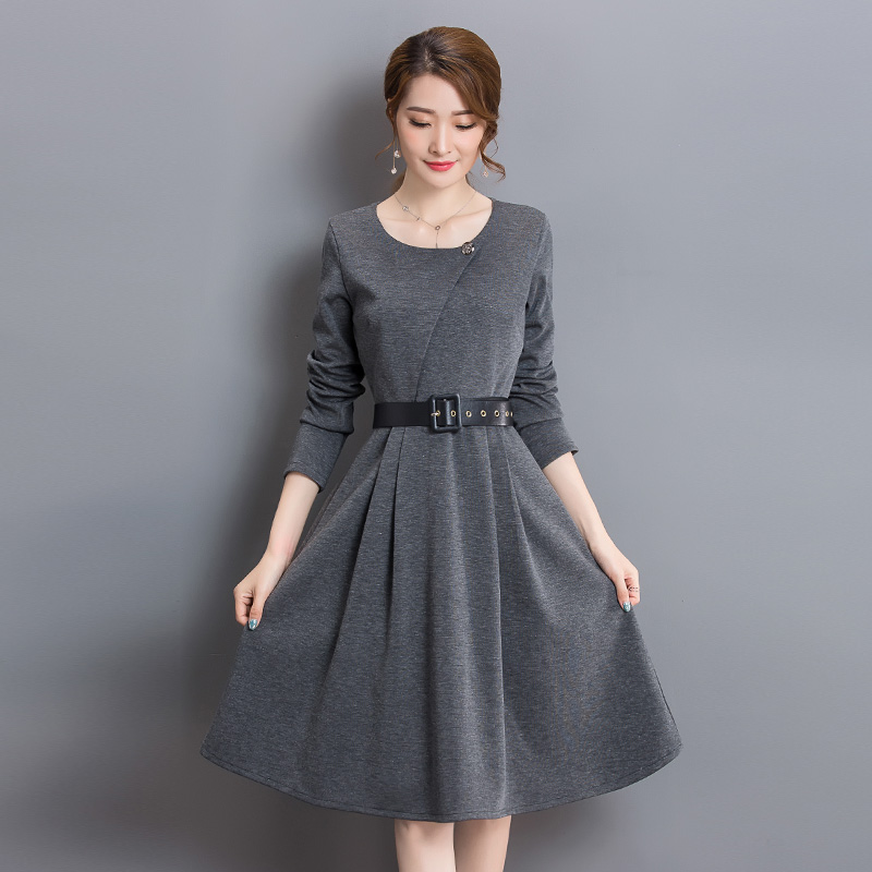 Autumn Winter O-neck Full Sleeve Work Wear Dress New Arrival Womens Elegant Slim Causal Business A-Line Dress Vestidos L7501