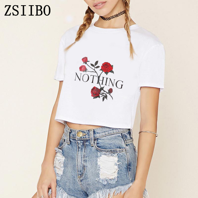 df1b4acbe58c9 ZSIIBO ZWO001 rien Rose fille puissance Tshir T-Shirt Harajuku T-Shirt à  manches