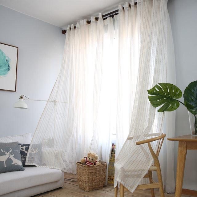 Modern Cotton Linen Gold Striped Bedroom Sheer Curtains For Living Room Tulle Panels Window Screening