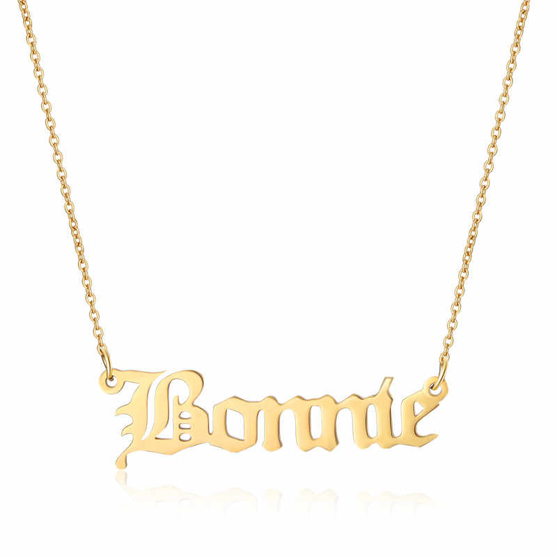 Custom Name Necklace Stainless Steel Nameplated Women Necklace Braidmaid  Gift Gold Rose Gold Bijouterie Jewelry Dropshipping