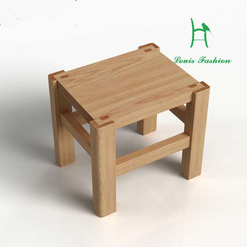 White Oak Wood Bench Stool Simple Children's Shoes Stool