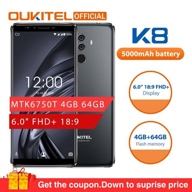 "OUKITEL K8 אנדרואיד 8.0 6.0 ""FHD + 18:9 MTK6750T אוקטה Core 4G RAM 64G ROM 5000 mAh 13.0MP + 2.0MP טביעת אצבע פנים מזהה Smartphone"