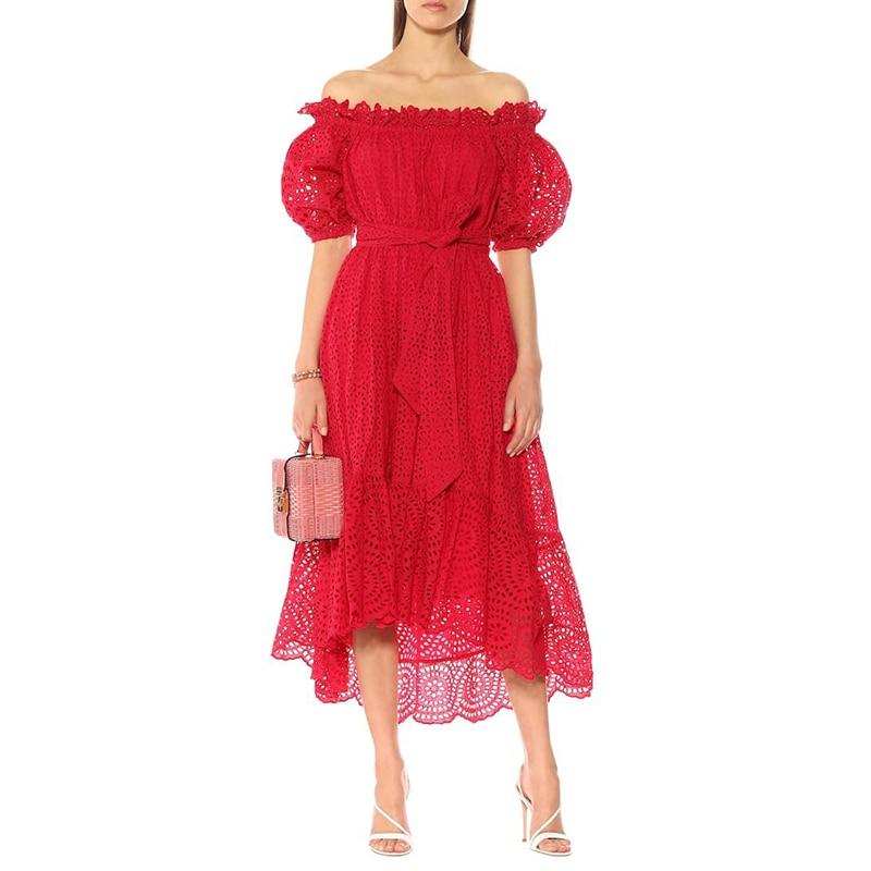 Women Summer Dress 2019 High Quality Runway Slash Neck Short Sleeve Hollow out Embroidery Cotton Irregular
