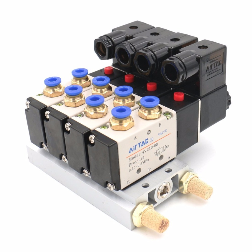 V210-08 DC 12V Single Head 2 Position 5 Way 4 Pneumatic Solenoid Valve w Base 5 way pilot solenoid valve sy3220 4d 01