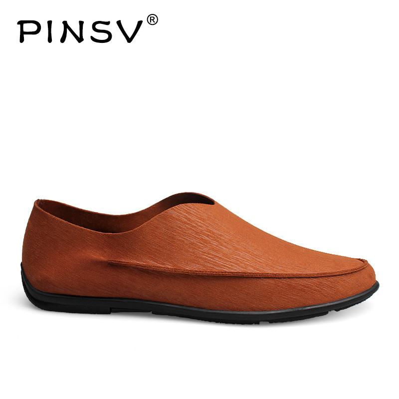 PINSV Spring Loafers Men Leather Shoes Slip On Casual Shoes Men Loafers Flats Black Moccasins Men Driving Shoes Size 38-48 dekabr new 2018 men cow suede loafers spring autumn genuine leather driving moccasins slip on men casual shoes big size 38 46