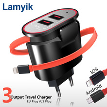 Lamyik 5V 3.4A 2 Ports USB Charger with Built-in Cable EU US Fast Charging Wall Charger For iPhone Samsung Xiaomi Carregador USB