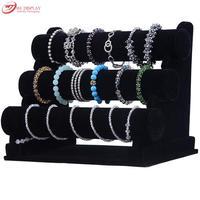 Portable Black Velvet Bracelet Display Rack 3 Layers T Bar Bangle Holder Anklet Showing Stand Chain Organizer Wooden Shelf