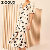 Z ZOUX Woman Dresses Irregular Split Ruffle Stitching Cotton Dress Women Color Matching V Neck Fish Tail Party Dresses 2019 New