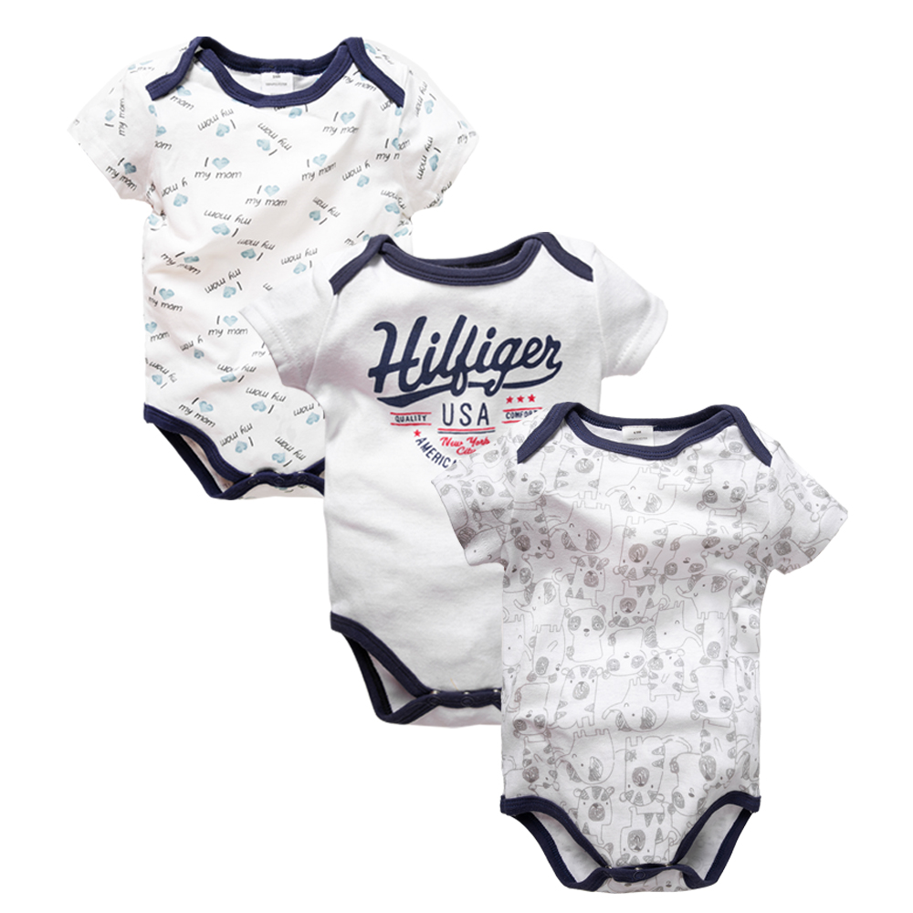 3PCS/LOTSummer Newborn Baby Boy Girl Clothes Set Infant Kids Short Baby Girl Clothes Short Sleeve Bodysuits