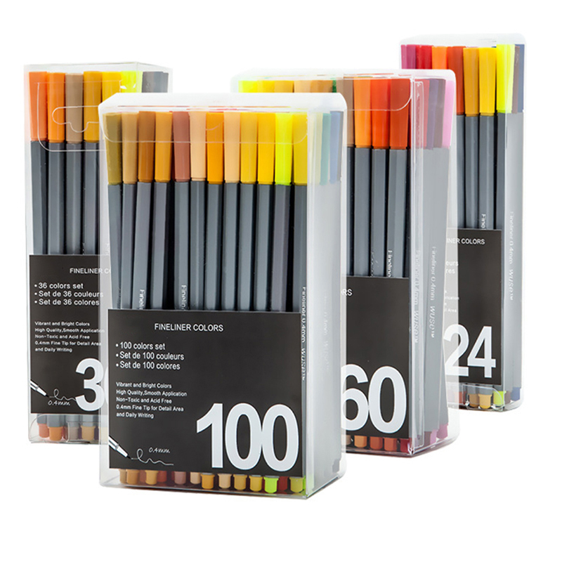 100 Colors 0.4mm Fineliner Marker Pen Water Based Assorted Ink Art Markers No-tox Material Drawing Graffiti Hook Fiber 0 4 mm 24 colors fineliner pens marco super fine draw not stabilo point 88 marker pen water based assorted ink no tox material