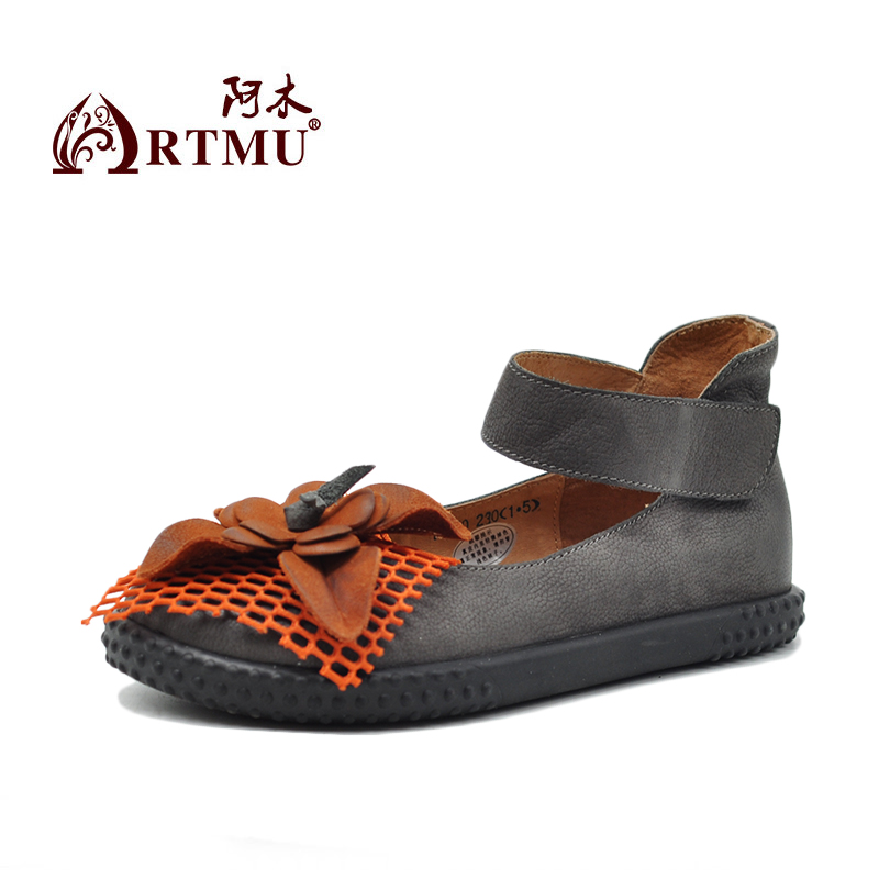 Artmu Original Spring New Flowers Women Shoes Handmade Leather Shoes Women Sandas Ankle Strap Fashion zapatos de mujer-in Women's Flats from Shoes    2