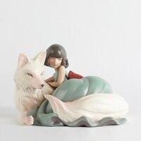 Фигурки художника скандинавские статуэтки Статуэтка Miniture животное домашний декор скульптура волк Девочка Рождественский подарок полисто