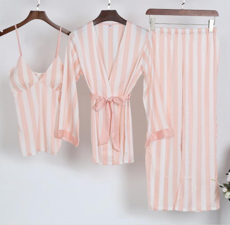 2018 Top New   Pajamas     Set   For Women Vest Coat Long pants 3 Pieces/  set   Striped Homewear Clothes Blue Green Pink Color Nightgown