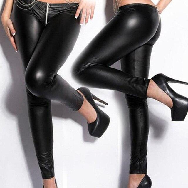 b0dfca52b90f4 Sexy Women Skinny Leather Leggings Erotic Wetlook Black Low Waist Zipper to  Back Vinyl Leggings Gothic Stripper Pole Dance Pants