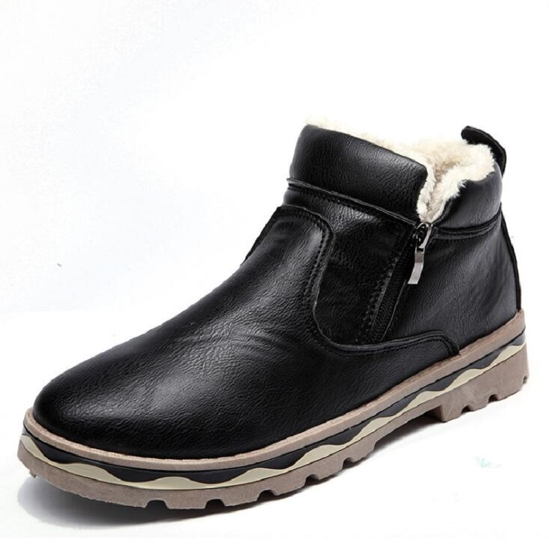 Ankle Boot Plush Inverno Dos Marrom Brown suede Vaca Black Sólida suede Camurça De brown Neve Preto Amshca Idosos Homens Botas Sapatos Borracha Trabalho Zip Da Black 8Zqp08wFdx