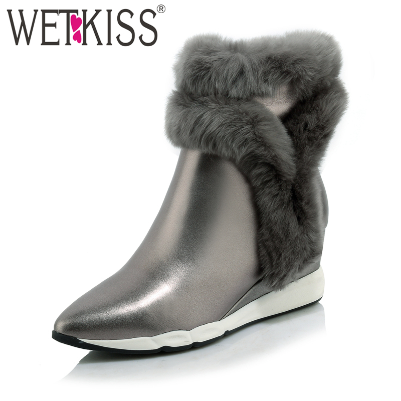 WETKISS 2018 Genuine Leather Rabbit Fur Shoes Woman Ankle Boots Zipper Wedges Winter Boots Pointed toe Platform Footwear Female nayiduyun 2017 winter warm shoes women genuine leather round toe wedges ankle boots super high heel rabbit fur platform pumps