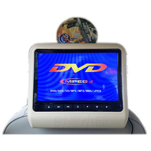 One pair portable 9inch car headrest DVD Player with FM IR USB/SD/MP5/32bit Wireless game/speaker 800×480 free shipping