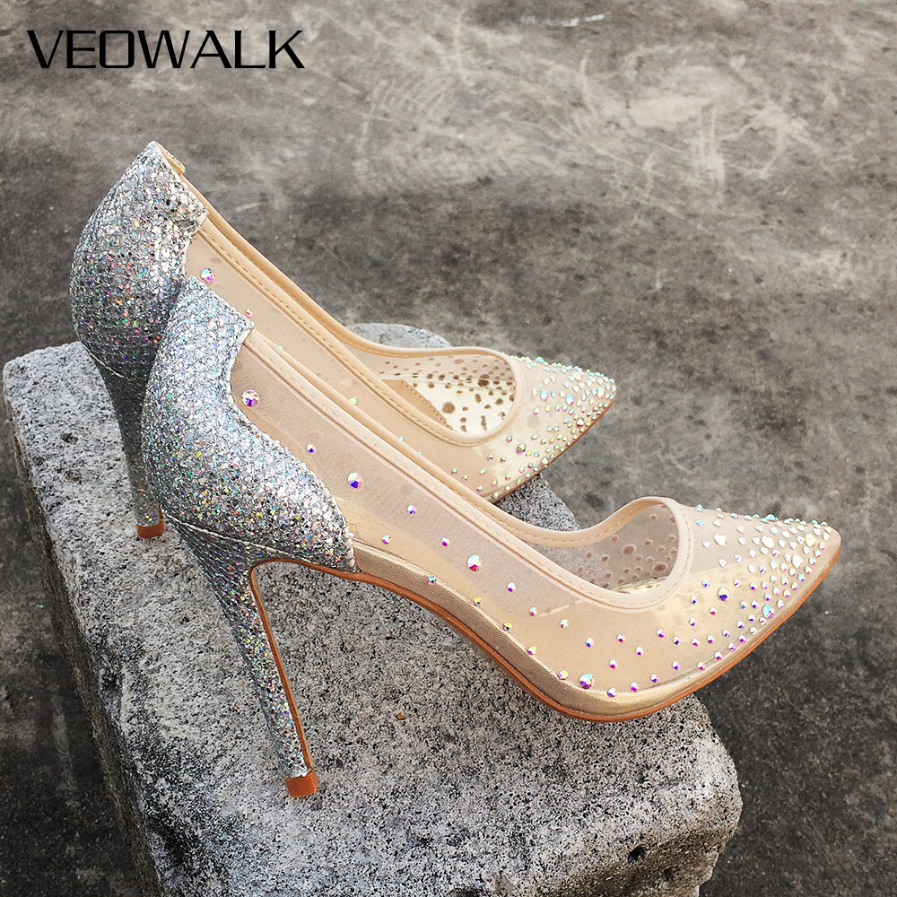Veowalk Summer Bling Silver See-through Women Stiletto High Heels Sexy Ladies Shiny Pointed Toe Pumps Fashion Wedding Shoes quanzixuan women pumps sexy high heels bling women shoes fashion wedding shoes pointed toe stiletto gold party ladies shoes