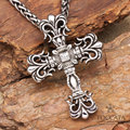 Oversize vintage the flower lovers stainless steel  pendant for men women big cross gothic necklace