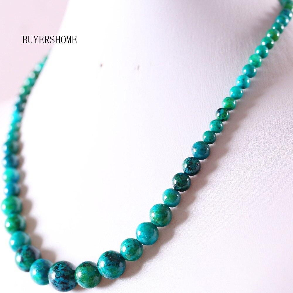 """Nouveau 6-14 mm Naturel Bleu Grès Gemstone Round Beads Necklace 18/"""""""