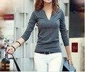 1 unid Sólido de Las Mujeres Con Cuello En V Camiseta Básica Pullover Manga Larga de Señora Tops T-shirt XS-XL 10 Colores