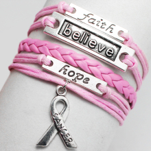 Silver Believe Faith Hope Lucky Wish Round Tree charms bangle wrist wrap Bracelet New cancer breast Ribbon Bracelet for love