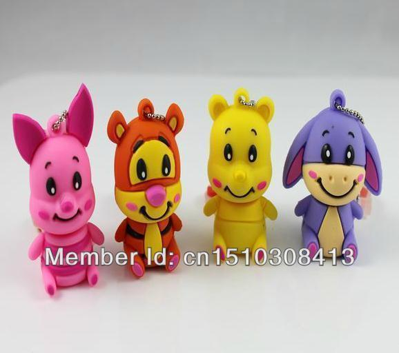 100% real capacity new arrive tigger small pig usb flash drives 4G 8G16GUSB Flash Memory Drive Stick Pen/Thumb/Car no chain
