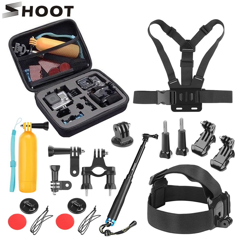 SHOOT for GoPro Action Camera Accessories Set Monopod Mount Set for Go Pro Hero 7 6 5 Xiaomi Yi 4K SJCAM SJ5000 SJ7 Eken H9 Cam-in Sports Camcorder Cases from Consumer Electronics