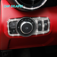 New Crystal Headlight Switch Frame Cover Stickers Internal Decoration for Alfa romeo Giulia Stelvio 2017 car styling