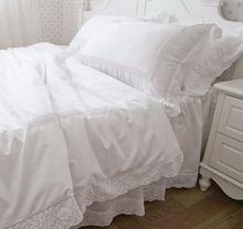 Комплект постельного белья из 100% хлопка белая кружевная однотонная