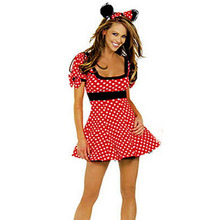 The Latest Cute and Active Red Cotton Dot Bunny Cosplay Costume Sexy Backless Dress Short Sleeve