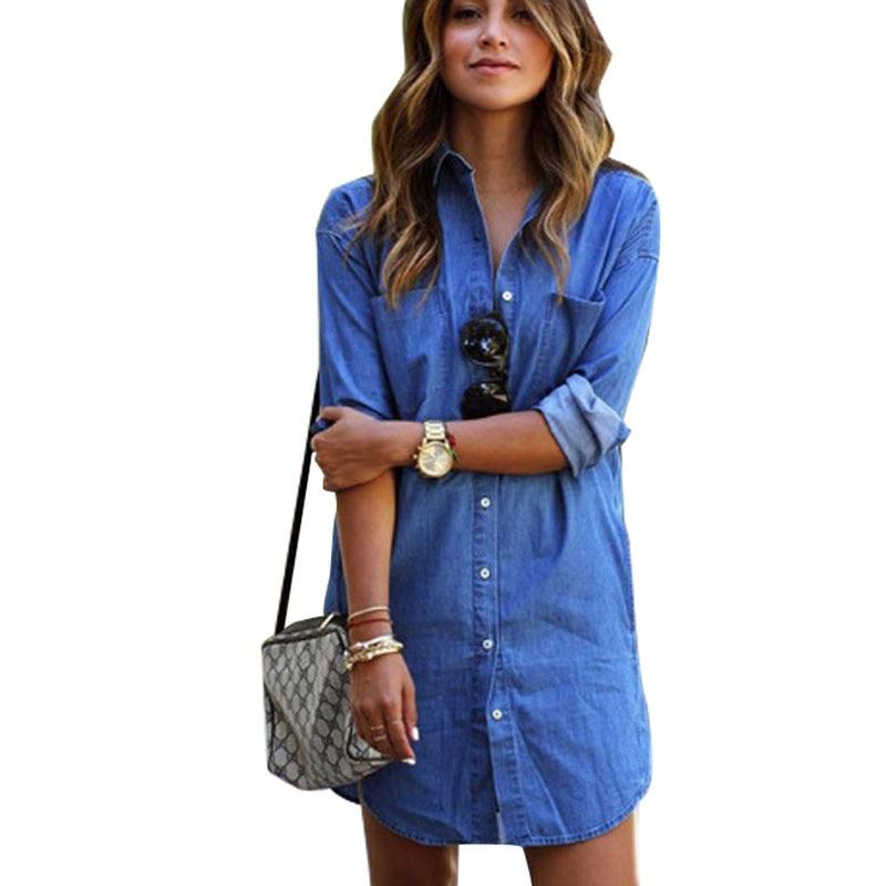 Fitted Denim Shirts Women Long Boyfriend Jeans Shirt Dress All-matched Soft Denim Women Tops Blouse Long Sleeve Shirts Blusas XL