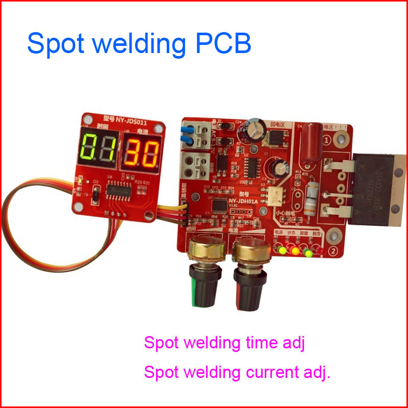 Spot welding board, time and current controller control panel timing current with digital display upgrade 100A wire feeder control panel board nbc350 500 igbt module control gas welding motherboard repair replacement