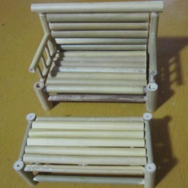 conjunto hecho a mano de bamb silla de muebles de escritorio modelo de la artesana antigua