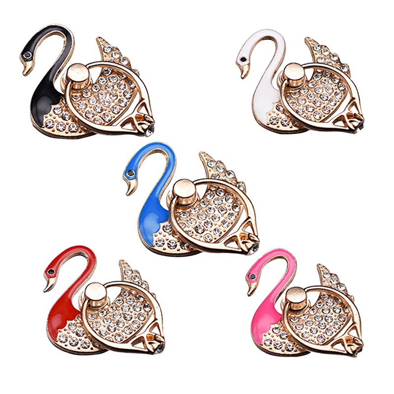 360 Degree swan crystal Mobile Phone Stand holder Finger Ring Mobile Phone Holder Stand For all Phone