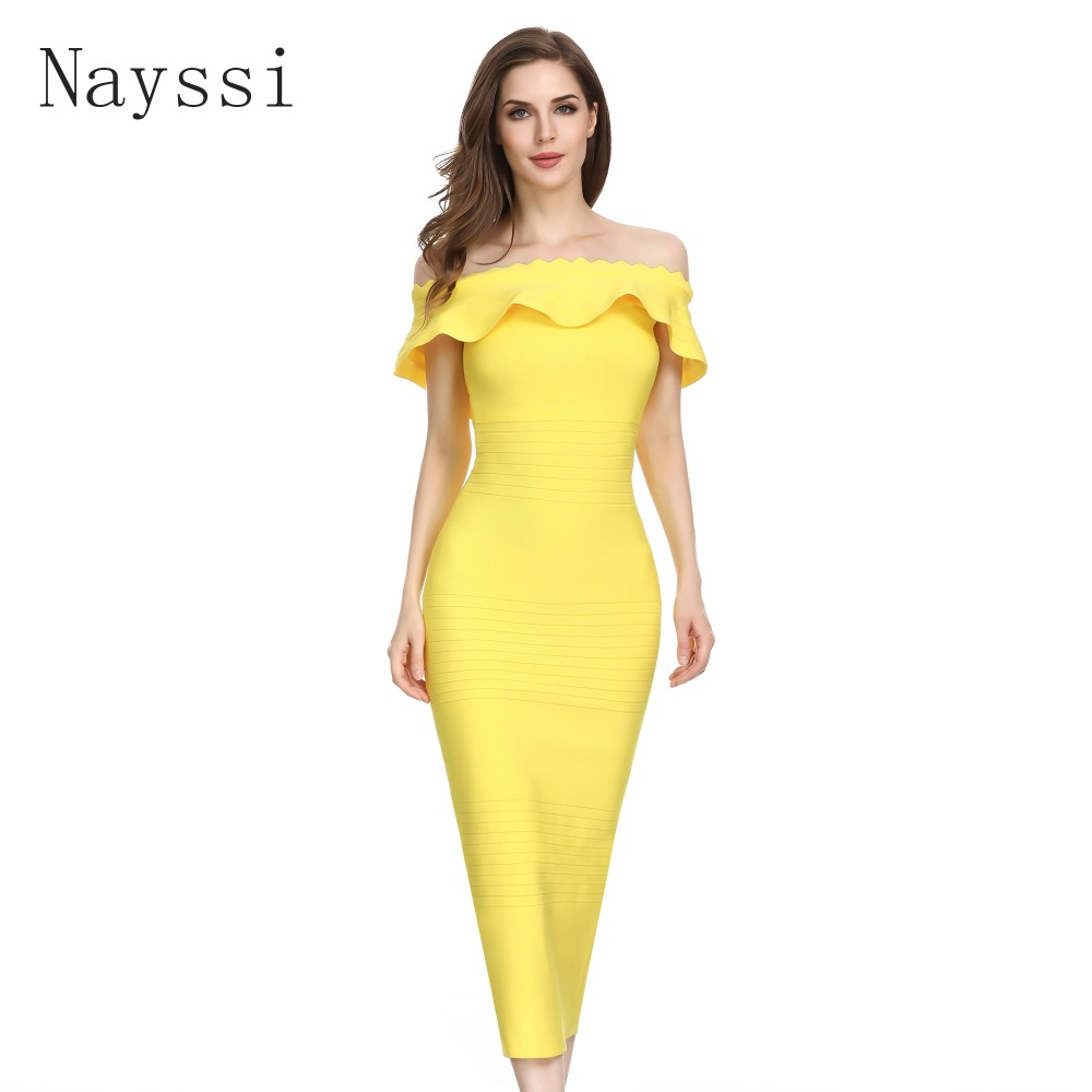 Nayssi 2019 Bandage Dress Off Shoulder Bodycon Long High Quality Sexy Celebrity Midi Party Dress