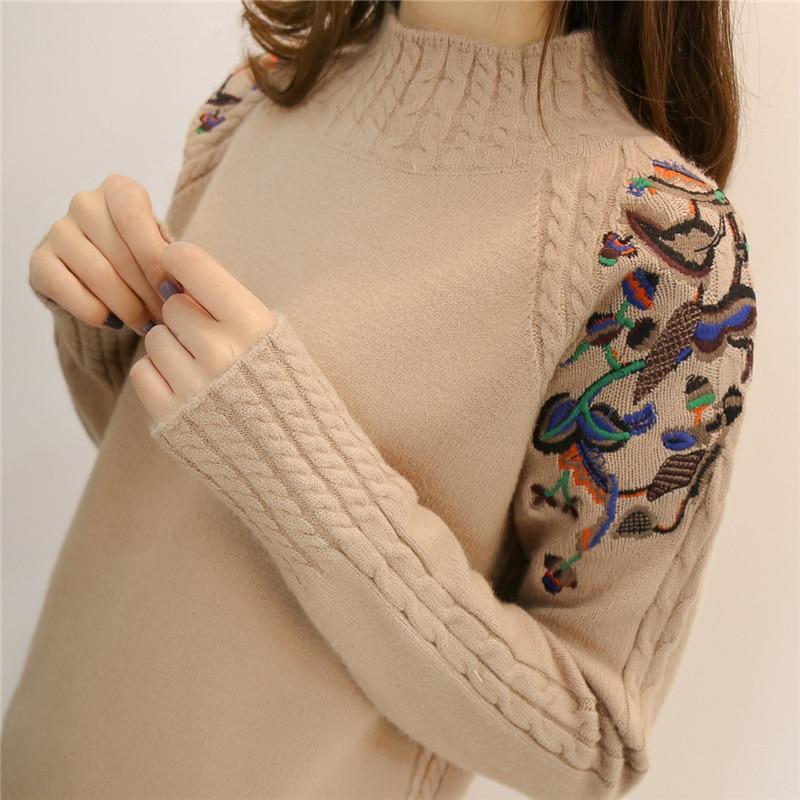 2018 metà femminile maglione a collo alto femminile testa del manicotto del ricamo torsione sciolto del tutto-fiammifero a maniche lunghe che basa maglioni