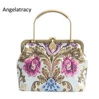 Angelatracy 2018 Brocade Floral Handbag for Women Antique Tote Bag High Quality Jacquard Metal Frame Purse Flowers Crossbody Bag