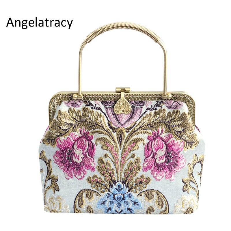 Angelatracy 2018 brocart Floral sac à main pour femmes Antique sac fourre-tout haute qualité Jacquard métal cadre sac à main fleurs sac à bandoulière