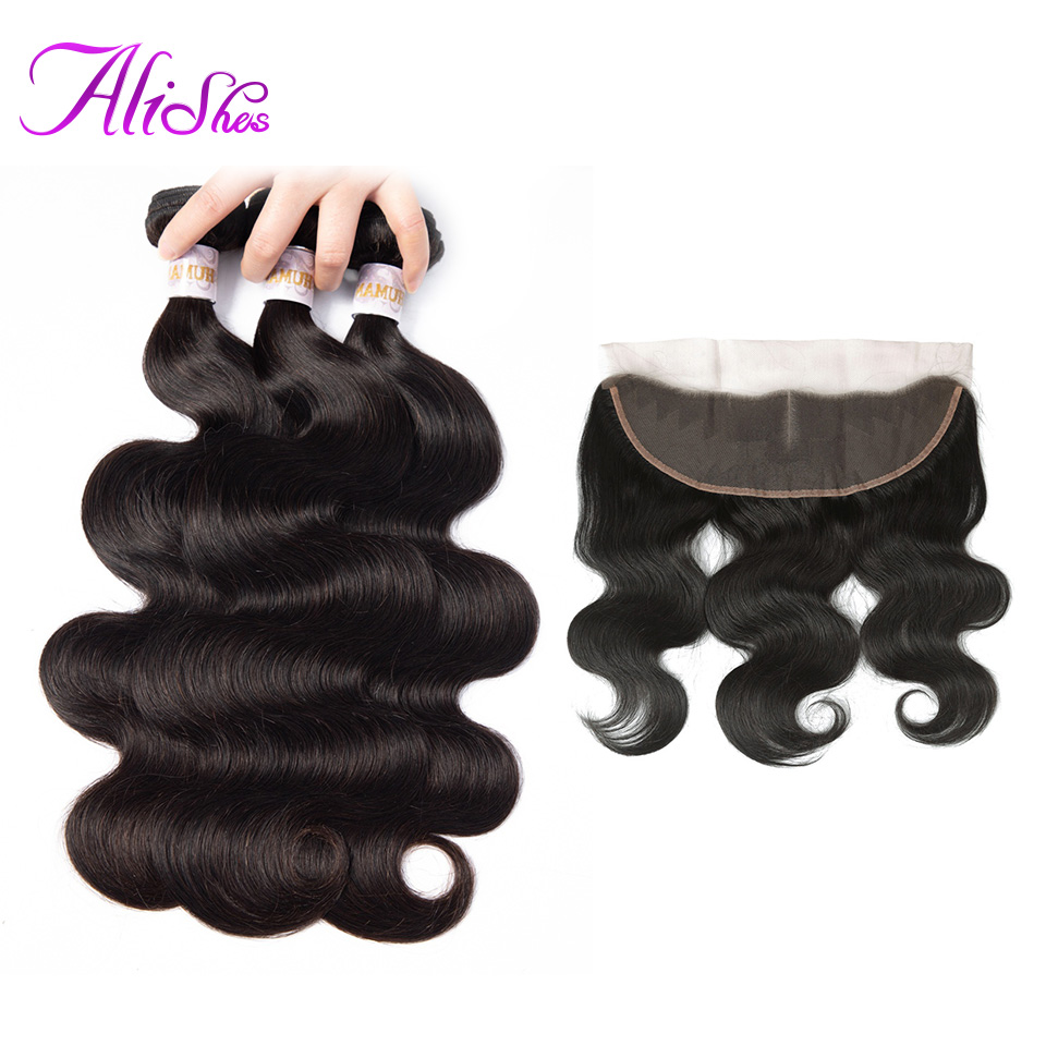 Alishes Body Wave Peruvian Hair Bundles With Lace Frontal Closure 13x6 Pre Plucked Human Hair 3