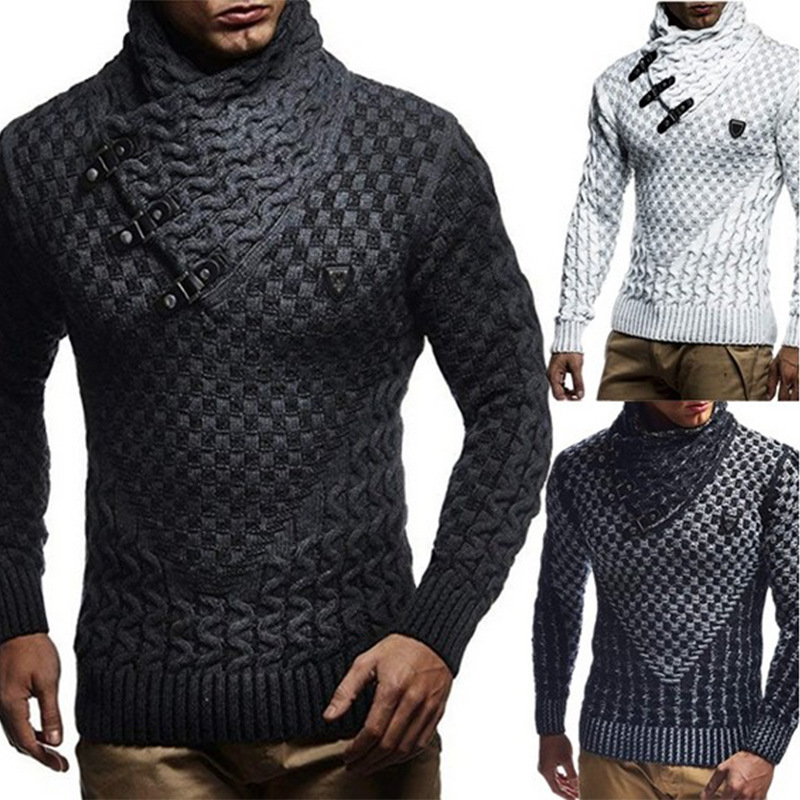 2019 Men Sweaters  Brand New Warm Pullover Sweaters Man Casual Knitwear Winter Men Black Sweatwer XXXL Computer Knitted