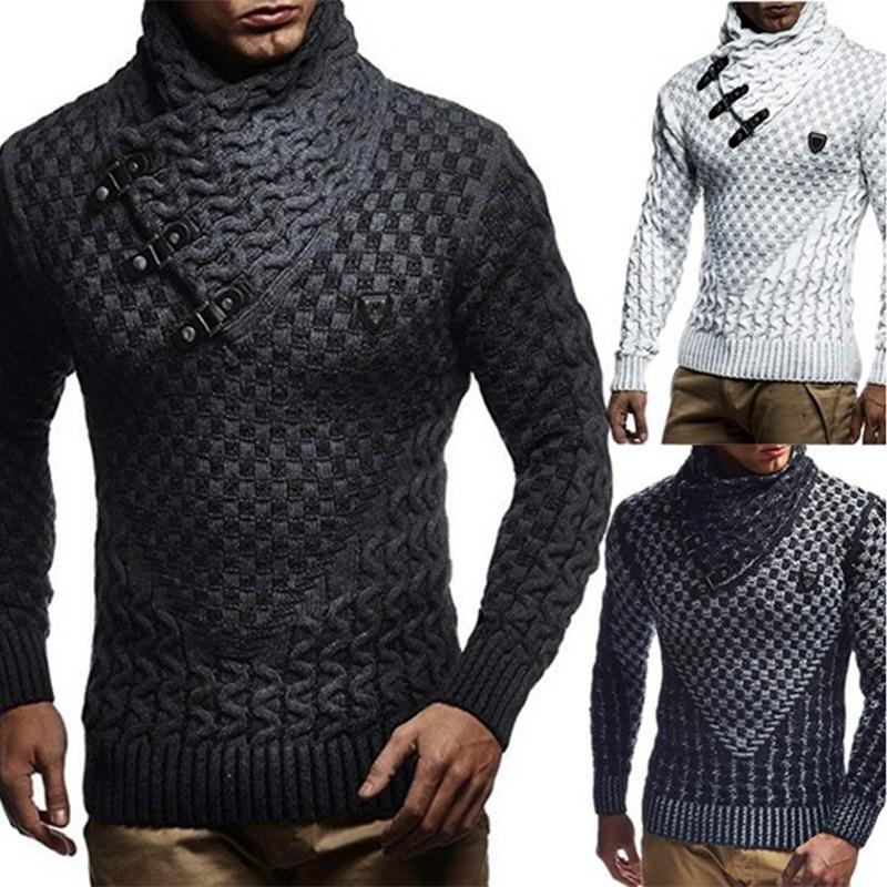 2019 Men Sweaters  Brand New Warm Pullover Sweaters Man Casual Knitwear Winter Men Black Sweatwer XXXL Computer Knitted