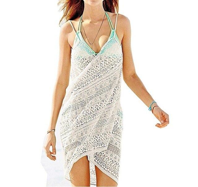 V cuello de Encaje Jacquard Princesa Crochet Túnica Playa traje de ...