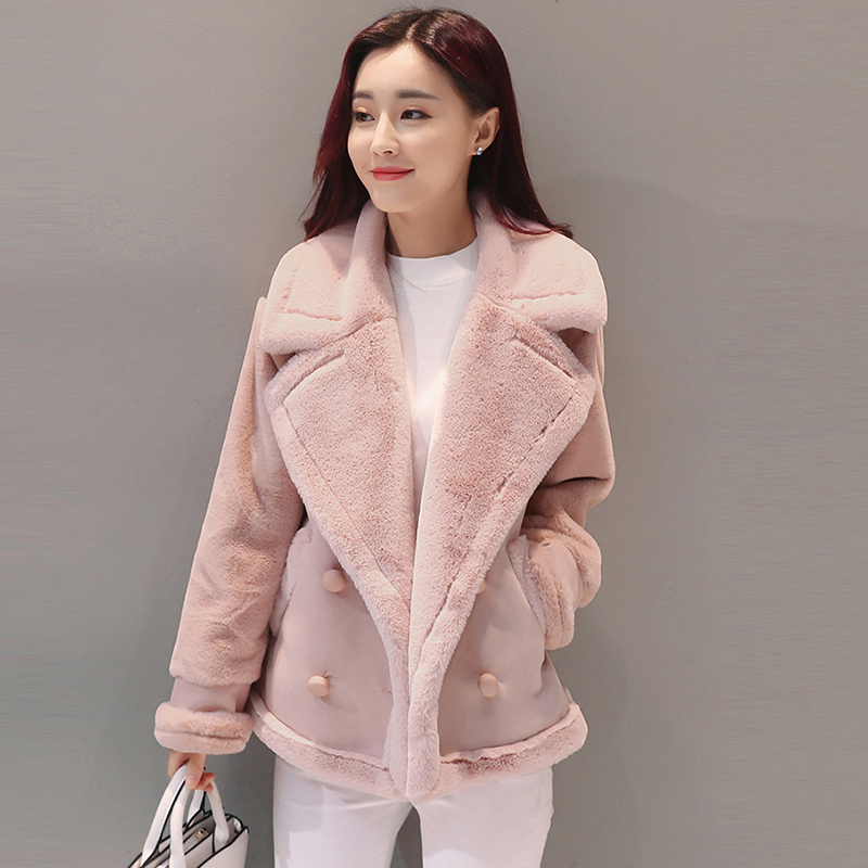 2018 New Women Faux Shearling Sheepskin Coat Winter Thick PU   Leather   jacket Ladies Loose Lambs Woolen Cashmere warm Coats QH1066