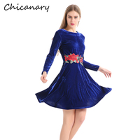 Chicanary Navy Blue Velvet Dress With Embroidery Floral Women Long Sleeve Vintage Dresses