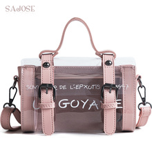 Fashion Letter Summer Beach Bag Women Jelly Handbags Crystal Leather Messenger Bags Transparent Bags High Quality