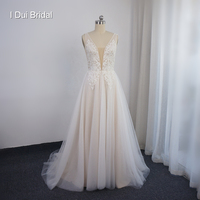 Plunging neckline Deep V Wedding Dresses with Tulle Skirt Beaded Lace Bridal Gown Factory Custom Made Real Photo